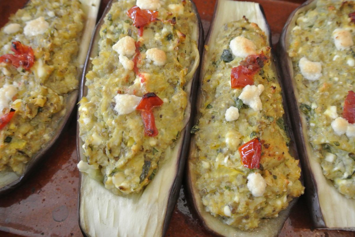 gevulde aubergine, thermomix, thermomixrecepten, quinoa, aubergine, gevulde groenten